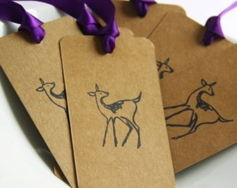 Set of 50,  Deer Gift Tags, Ribbon Color Options, Bookmark
