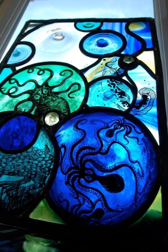 Octopus's Garden Stained Glass Panel