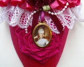 Marie Antoinette slipper in fuchsia silk with cameo and wrapped rose is filled with bath fizzes, a great Mom's gift.