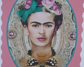 Two embellished Frida Kahlo  Best Wishes Greetings cards