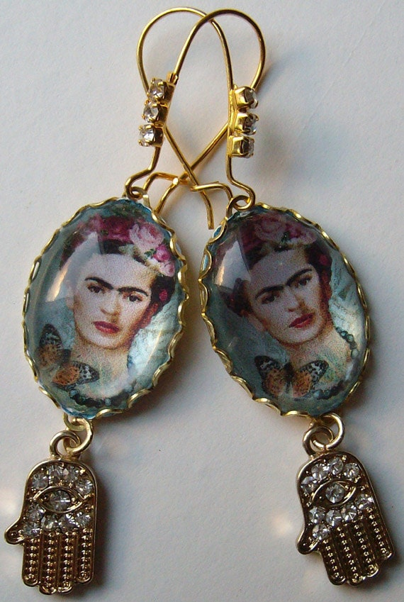 Frida Kahlo earrings with portrait cabochon in filigree frame and Hamsa Hand of Fatima for protection