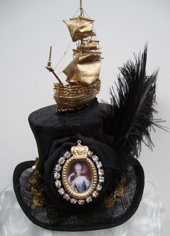 Marie Antoinette mini top hat headpiece fascintaor with ship, vintage braid, jewels and ostrich feathers fab for Goth Bride Halloween