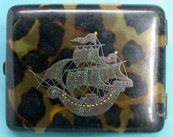 Antique Faux Tortoise Shell Cigarette Case with Sailing Ship Mother of Pearl Pique Inlay