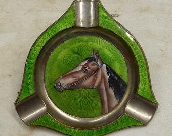 1920s Enameled Horse Portrait Ashtray
