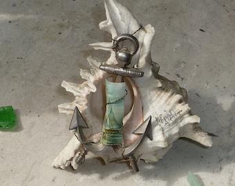 1900s Seaside Memento Antique Souvenir Murex Sea Shell Metal Anchor and Paper Scrap Sailboat