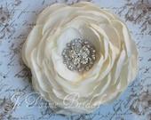 Ivory Satin Bridal Flower fascinator with stunning crystal rhinestone
