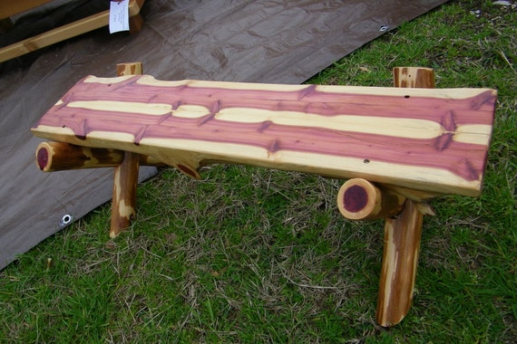 Items Similar To Split Cedar Log Bench On Etsy
