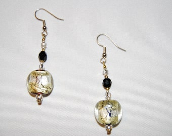 Murano Lampwork Glass Gold & Silver Earrings with SS French earwires