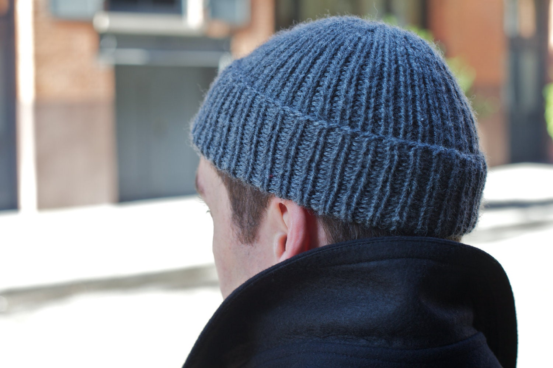 Watch Cap Knit Pattern : Sailors Watch Cap in Gray Beanie Knit by Hand in 100%