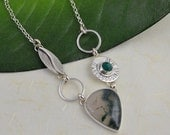 Silver Necklace with Stones of Moss Agate and Green Onyx