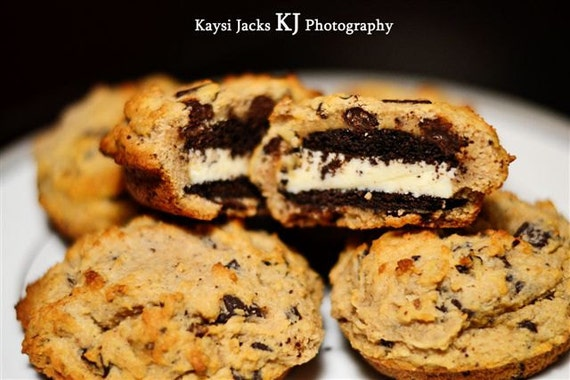 12 BIG Chocolate Sandwich Cookies Covered in Chocolate Chip Cookie Dough ( Low Carb, Sugar Free, Gluten Free, Grain Free)