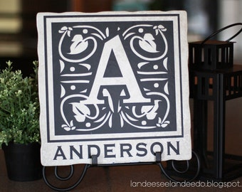 12x12 Custom Monogram Tile Vinyl Decal