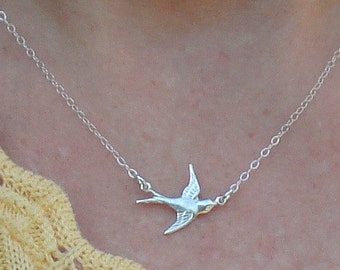 Bird Necklace Sparrow Necklace Silver Bird Necklace Sterling Silver Chain, Pendant, Everyday Necklace Jewelry