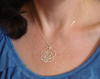 Rose Necklace Sterling Silver Chain, Jewelry Pendant Everyday Necklace