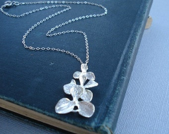 Silver Orchid Necklace Flower Necklace Sterling Silver Chain Pendant Silver Jewelry
