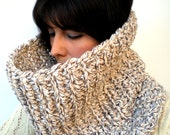 Clear Anjelyne Fashion   Cowl Super Soft Wool Neckwarmer Unisex Fashion Cowl Chunky Texture Cowlneck