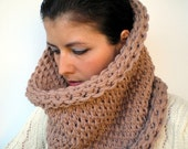 Double Spirit Cowl Super Soft  Wool Neckwarmer Unisex Double Face Reversible Big  Chunky Cowl