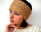 Shirley Clear Brown Double Spirit  Knit Headband Super soft Warm Woman Reversible Chunky Headband
