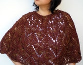 SALE Warm Brown Lace Poncho Hand Knit Capelet  soft Mixed wool Cape Woman Trendy Poncho