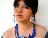 OOAK Sea Star Macrame   Necklace Handmade Royal Blue  Collar Cotton  Woman Fashion Necklace SALE