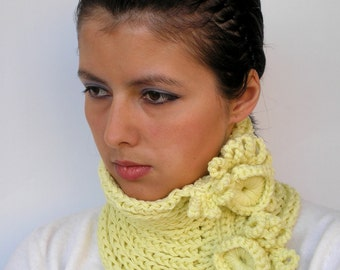 SALE Twin Lemon Yellow  Cowl Pure Baby Super Soft Merino Wool Neckwarmer Woman Cowl