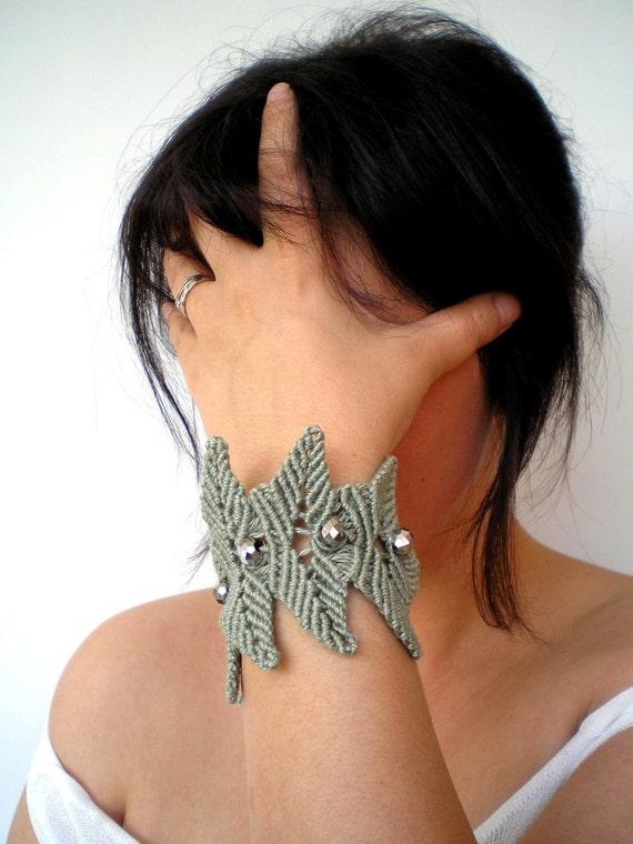 Dew Drops Bracelet Hand Craft Macrame Cuff Bracelet UNIQUE PIECE