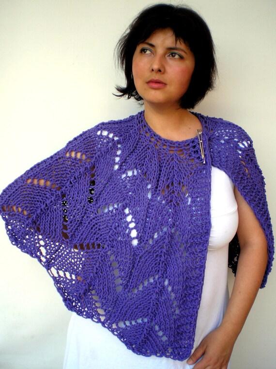 Purple Lace knit  Capelet Super soft Big Cotton Cape Woman Capelet
