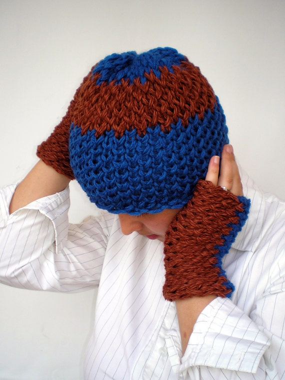 Denim Blue and Brown Double Spirit Knit Set Hat and Gloves Super soft Mixed  wool Woman Set Hat and Fingerles Mittens