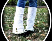 Upcycled Steampunk Inspired Cream Leg Warmers