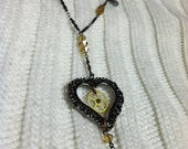 Love Gears, Upcycled Vintage Steampunk Inspired Heart and Gear Necklace