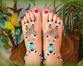 BAREFOOT SANDALS Handmade Beaded Butterfly
