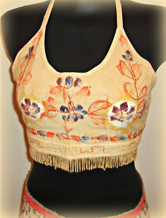 Recycled Halter Top Embroidered Hippie Retro Fringed