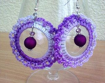 Lilac purple crochet earrings.