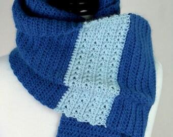 Selena Kyle - Gift Set, Angora/Merino Sapphire Blue Handmade Crochet Scarf and FREE Matching Fingerless Gloves