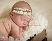 Gorgeous ruffle sweater headband in creme with crystal and natural accents photography prop