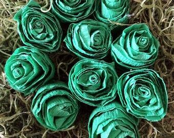 Crepe Paper Rosettes (Green, 10-pack)