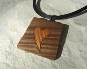 Wood you be my Valentine -- Inlay Pendant / Keychain - Polymer Clay