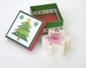 Peppermint Scented Snowflake Goats Milk Soap in Christmas Tree Gift Box