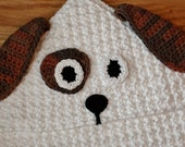 Crochet Pattern - Dog Hooded Baby Towel (also makes a great hooded blanket) - Immediate PDF Download