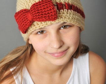Crochet Pattern - Gracie Hat with Bow or Flower (teen / ladies) - Immediate PDF Download