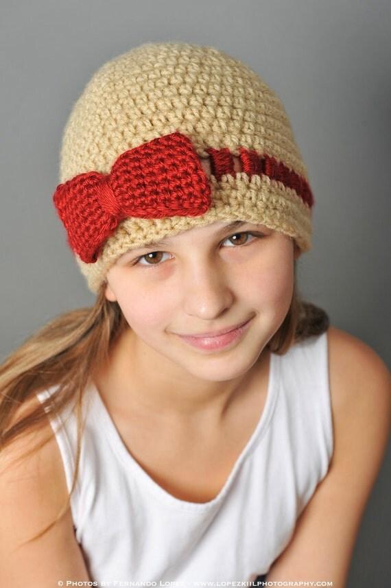 Crochet Pattern - Gracie Hat with Bow or Flower (teen / ladies) - Immediate PDF Download