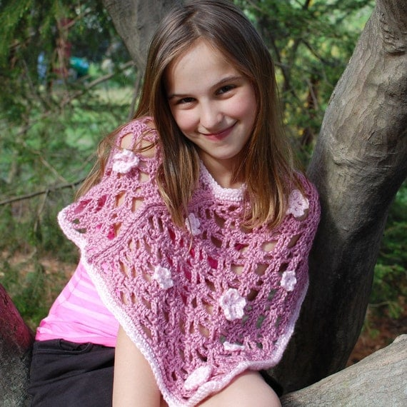 Crochet Pattern - Poncho with Flowers (3 sizes: Child's Small, Medium, Large) - Immediate PDF Download