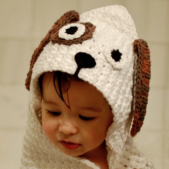 Crochet Pattern - Dog Hooded Baby Towel (also makes a great blanket) - Immediate PDF Download
