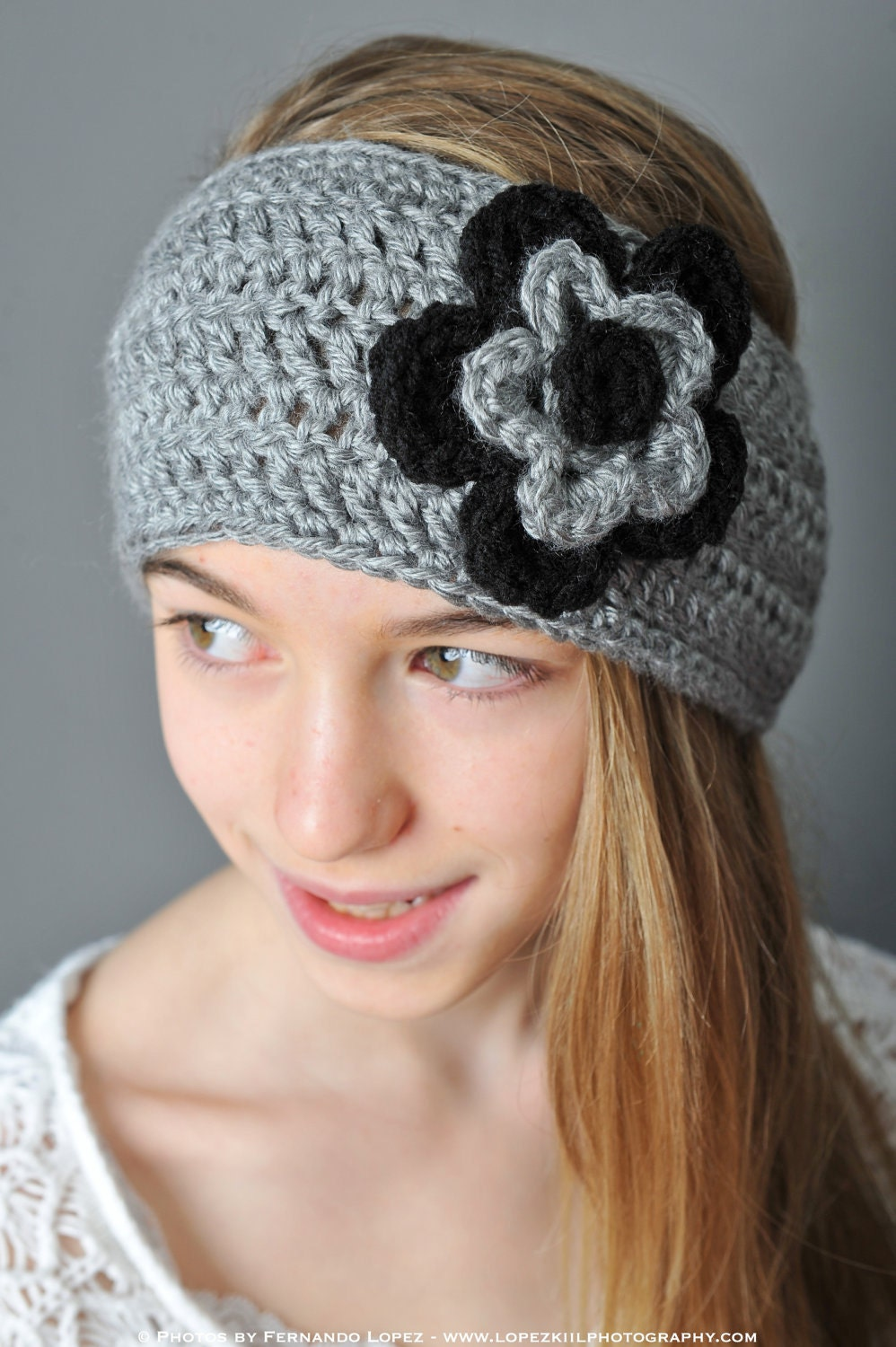Free Crochet Pattern Flowers Headbands : Crochet Pattern Ear Warmer/Headband with Layered Flowers in