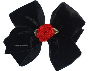 "Black Velvet Hair Bow with Red Satin Rosette - 3.5"" - Holiday Special Occasion Hair Bow - Wedding or Christmas Velvet RoseyBow® Hair Bow"