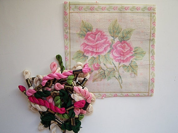 Vintage French Roses Needlepoint Pillow  Kit