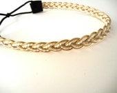 Gold and White Braided Headband