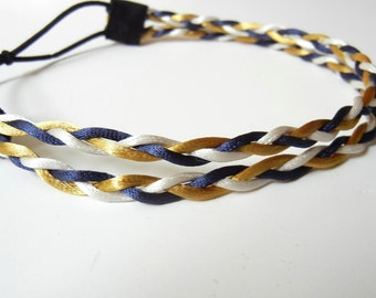 Blue, White, and Gold Double Strand Braided Headband