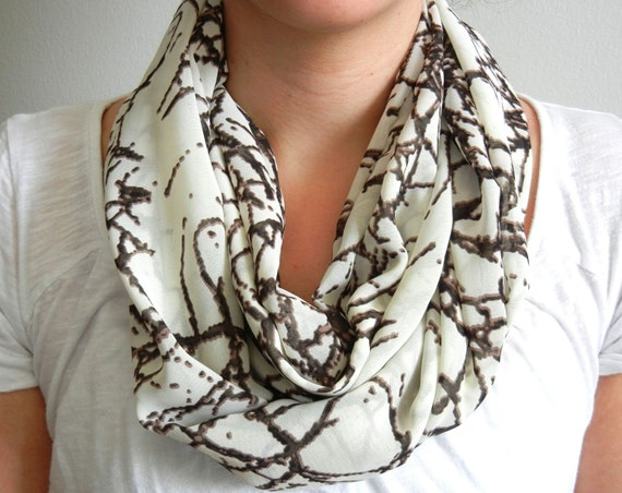 Cream and Brown Twig Print Infinity Scarf