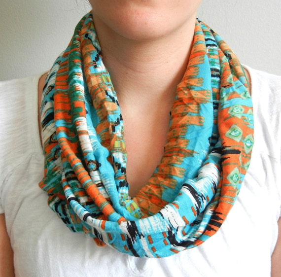 Blue and Orange Tribal Infinity Scarf